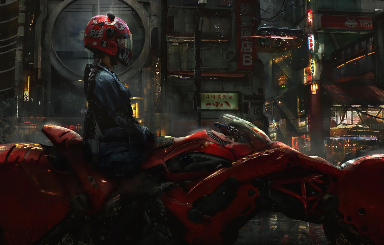 Photo wallpaper Girl, The city, Future, Girl, Bike, Motorcycle, Art, Concept Art, Science Fiction, Biker, Cyberpunk, Eddie …