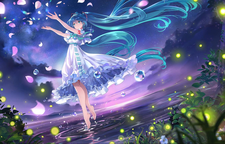 Photo wallpaper grass, water, joy, mood, grass, long hair, long hair, rose petals, water, mood, joy, starry …