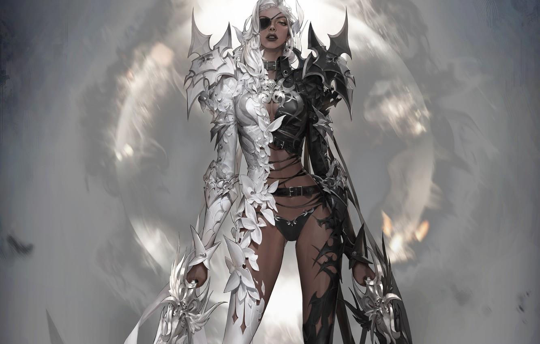 Photo wallpaper look, girl, weapons, angel, the demon, fantasy, art