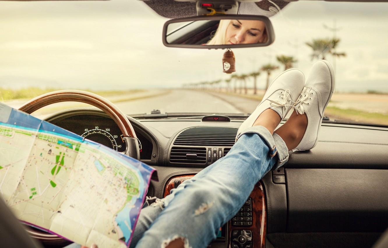 Photo wallpaper Car, Woman, Map, Mood