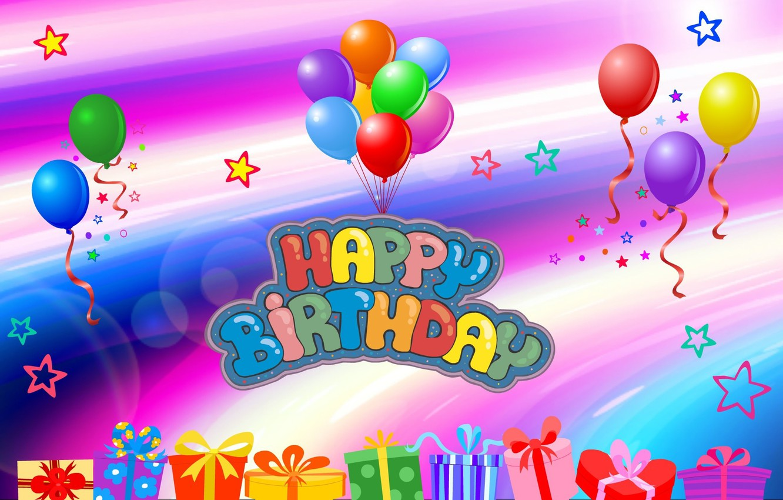 Photo wallpaper balloons, postcard, birthday, Birthday