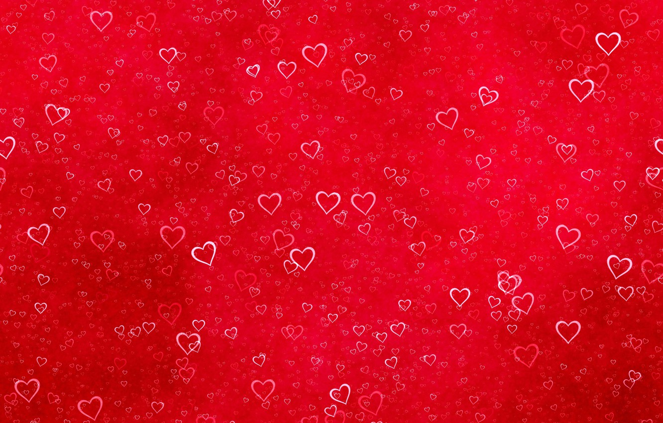 Photo wallpaper red, texture, hearts