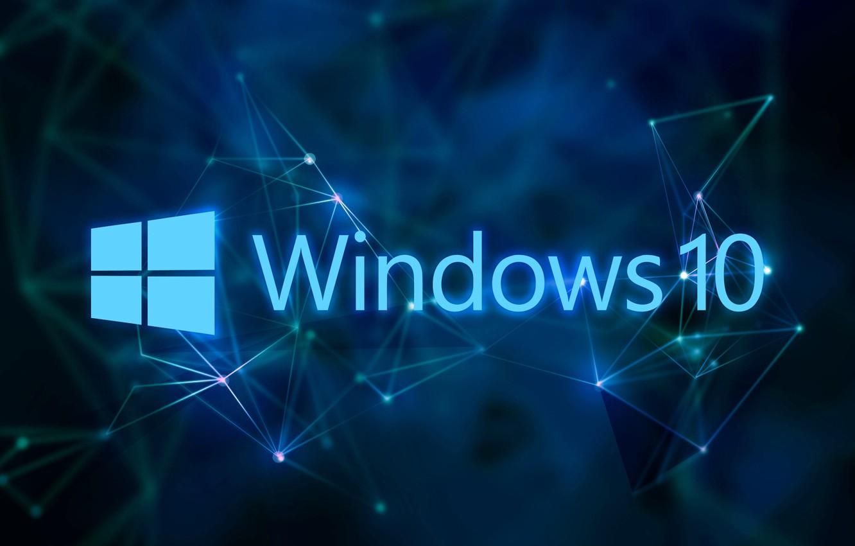 Photo wallpaper windows, blue background, Windows 10