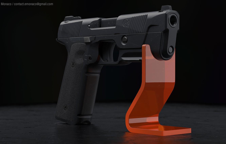 Photo wallpaper gun, weapons, gun, pistol, weapon, render, render, 3d art, rendering, hudson h9, Hudson X9