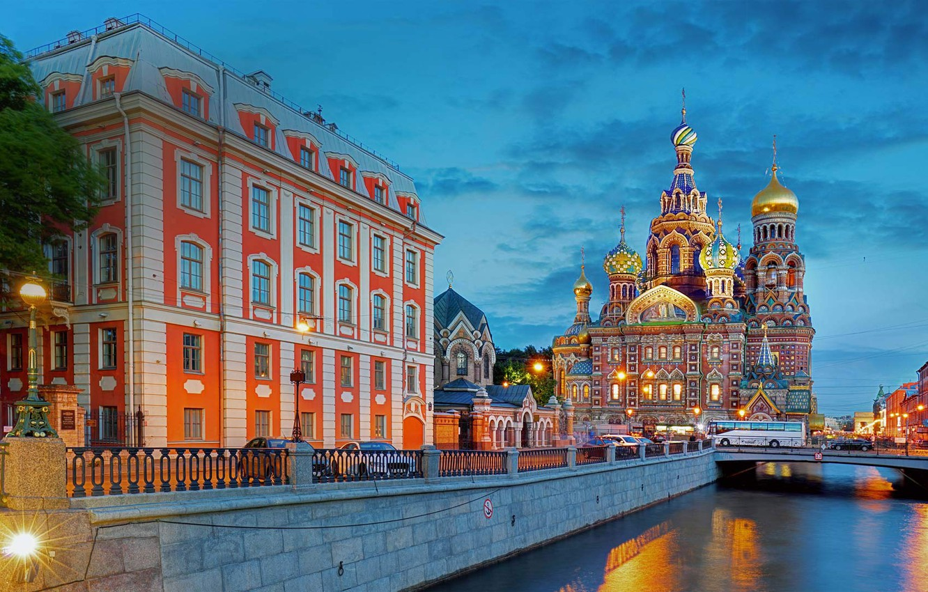 Photo wallpaper the city, building, the evening, Peter, lighting, lights, Saint Petersburg, Cathedral, channel, The Savior on …
