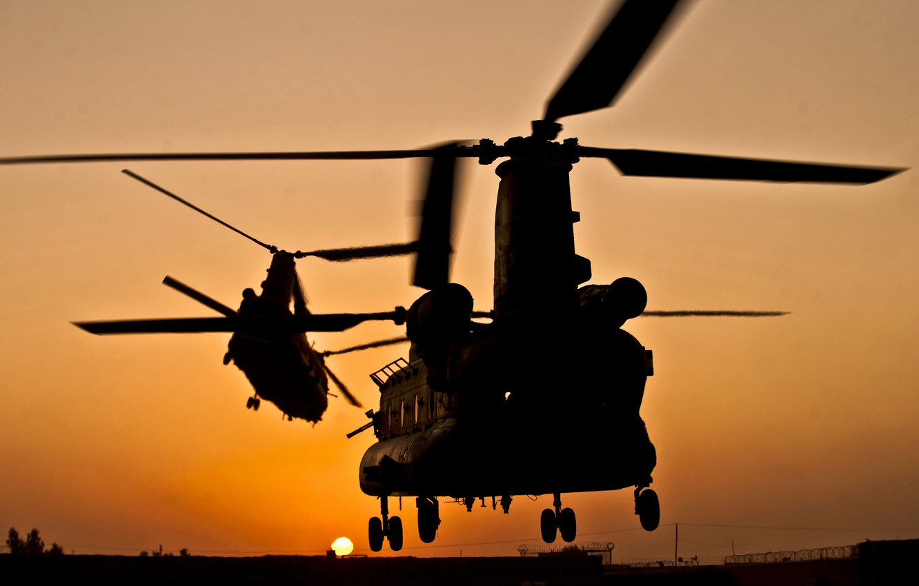 Photo wallpaper sunset, pair, helicopter, Boeing, transport, Chinook, CH-47