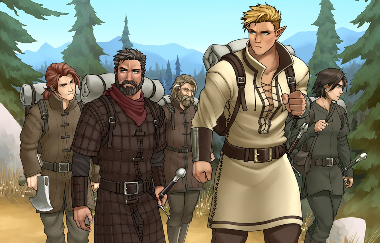 Photo wallpaper forest, elf, sword, male, beard, backpack, hike, squad