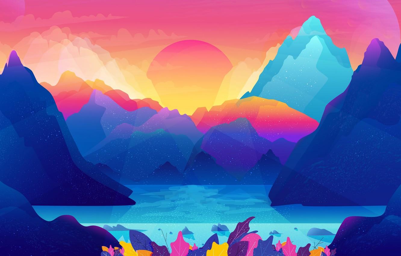 Photo wallpaper sea, landscape, mountains