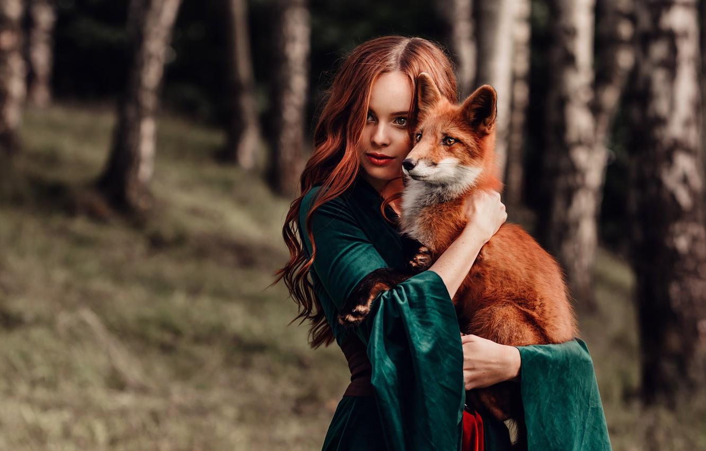Photo wallpaper girl, mood, Fox, red, friends, redhead, long hair, Natalia Andreeva, by Альбина Пономарёва