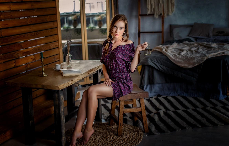 Photo wallpaper look, girl, pose, table, room, bed, legs, Evan Semuta