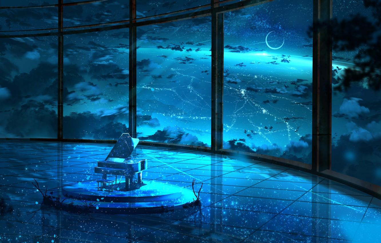 Photo wallpaper the sky, night, room, the moon, piano