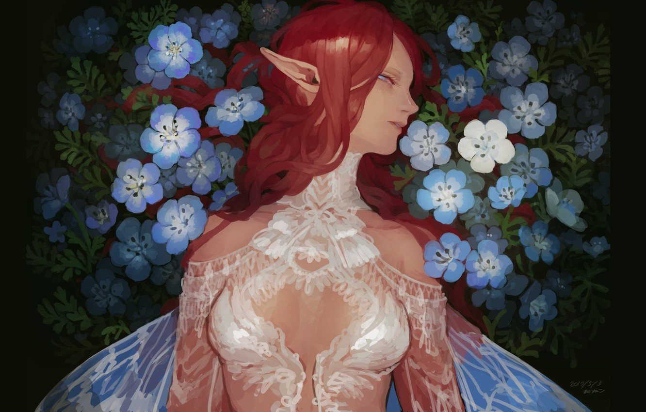 Photo wallpaper red, lace, elf, wings, white dress, long hair, forget-me-nots, in profile, blue flowers, pointy, elf …