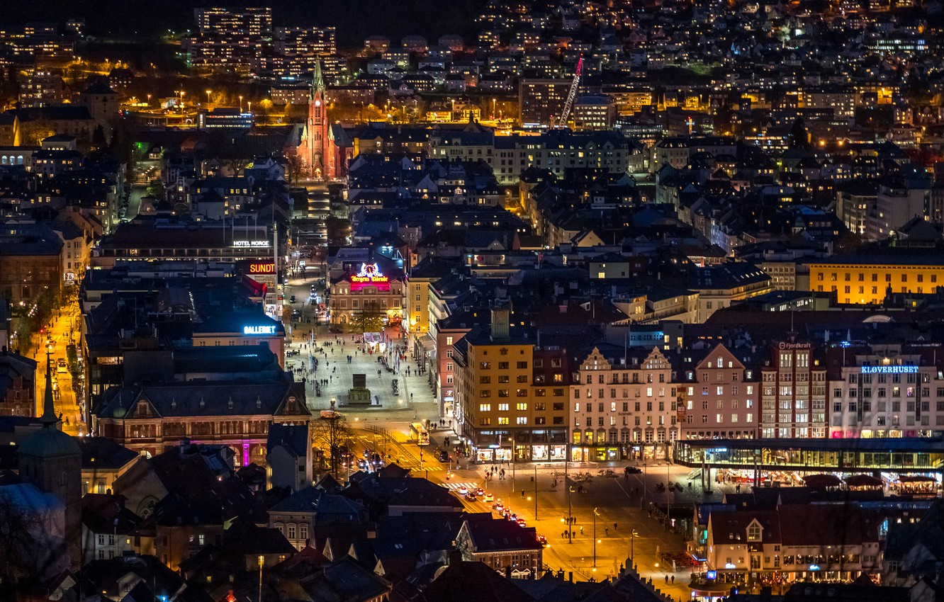 Photo wallpaper photo, Home, The evening, Night, The city, Street, Norway, Top, Bergen