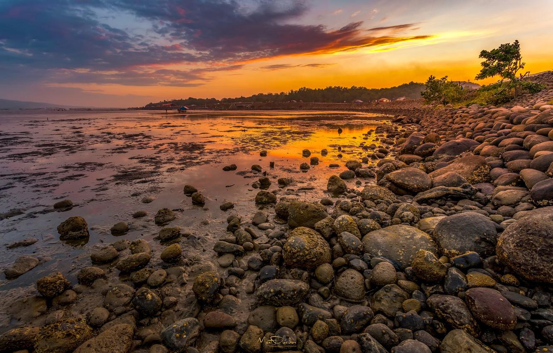 Photo wallpaper the sky, sunset, river, stones, shore, Philippines, Ozamiz City