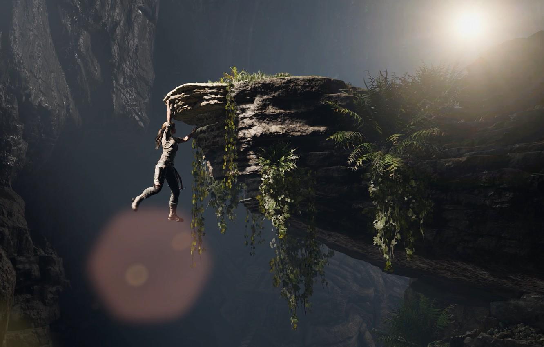 Photo wallpaper Girl, Open, Rocks, Square Enix, Lara Croft, Hanging, Ice pick, Shadow of the Tomb Raider