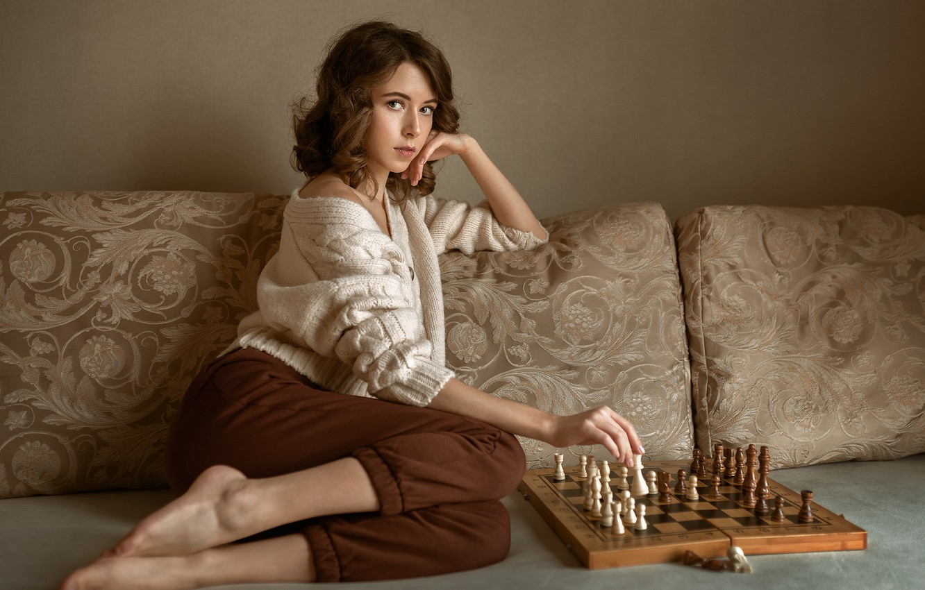 Photo wallpaper look, girl, pose, mood, chess, Albert Forest, Виктория Макаренко