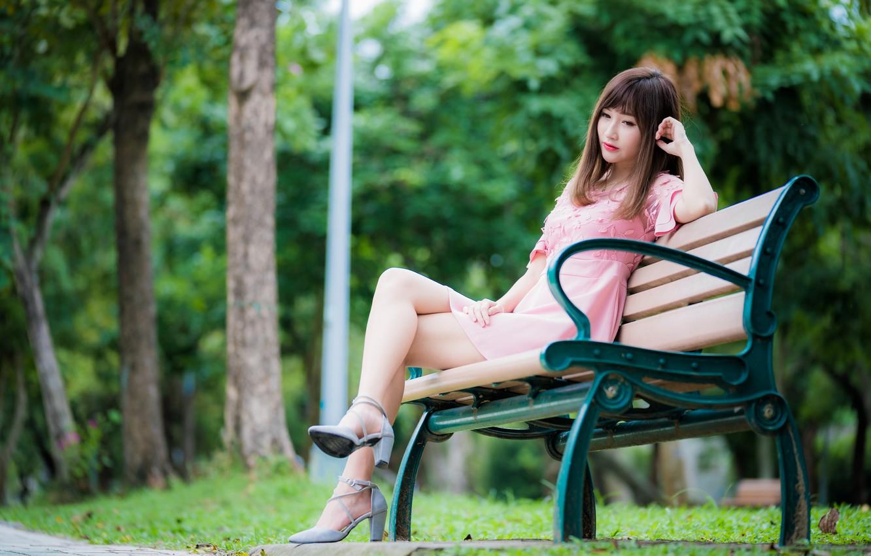 Photo wallpaper girl, Park, Asian, bench, bokeh