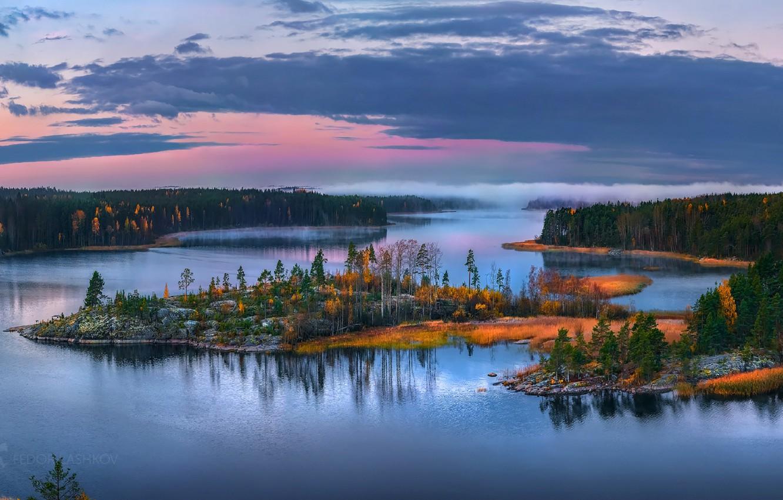 Photo wallpaper autumn, forest, the sky, lake, Karelia, Fedor Lashkov