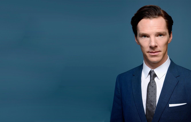 Photo wallpaper blue background, Benedict Cumberbatch, Benedict Cumberbatch, British actor