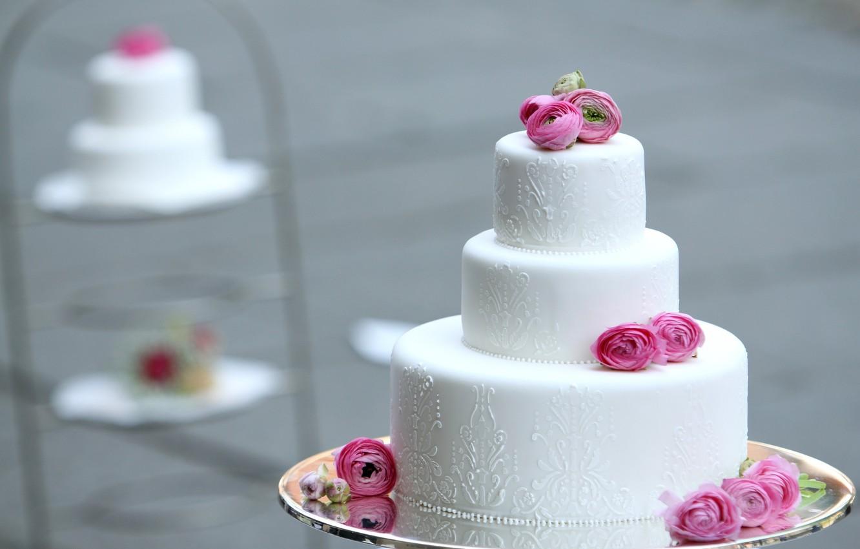 Photo wallpaper flowers, cake, decoration, dessert, tiers, Ranunculus, wedding