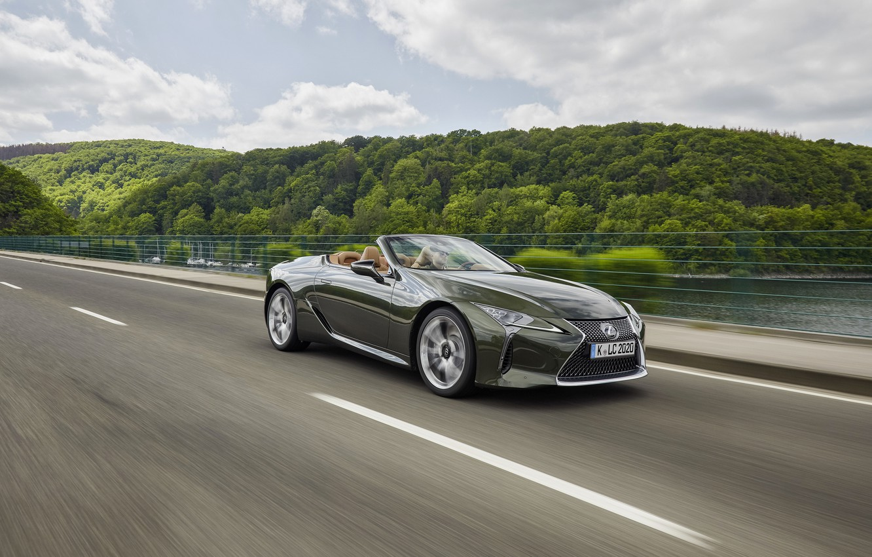 Photo wallpaper Lexus, convertible, in motion, 2021, LC 500 Convertible