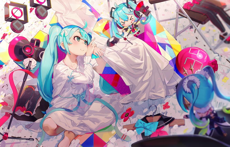 Photo wallpaper Girl, Anime, Art, Hatsune Miku, Art, Vocaloid, Vocaloid, Toys, Hatsune Miku