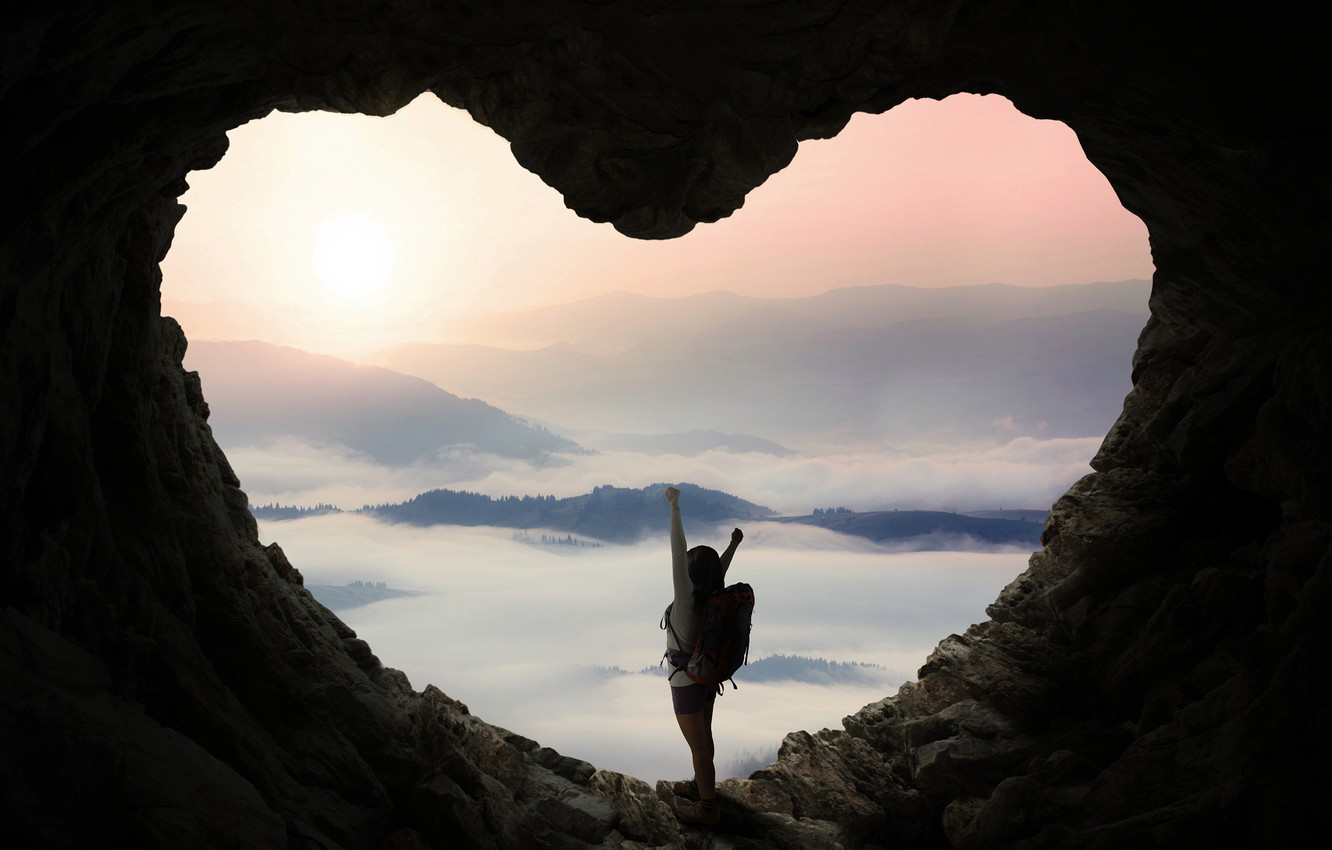 Photo wallpaper forest, girl, trees, landscape, mountains, pose, fog, stones, dawn, heart, shorts, Mike, brunette, panorama, cave, …
