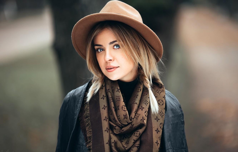 Photo wallpaper look, model, portrait, hat, makeup, jacket, hairstyle, blonde, shawl, pigtail, bokeh, Olesya, Ivan Proskurin