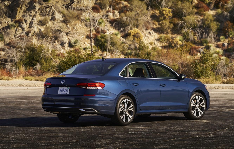 Photo wallpaper blue, Volkswagen, back, sedan, side, Passat, 2020, 2019, US Version