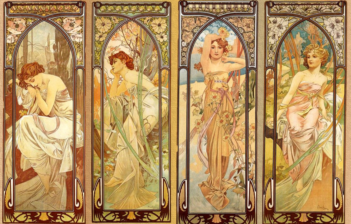 Photo wallpaper mural, composition, floral ornament, nymphs, female images, Alphonse Mucha, Alfons Maria Mucha, 4 girls, illustration …