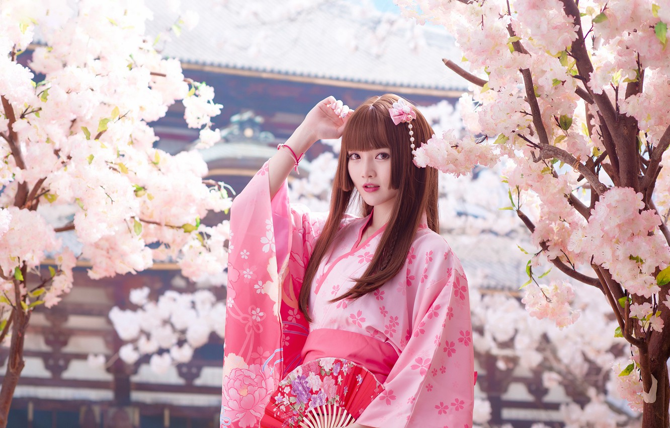 Photo wallpaper look, girl, light, trees, branches, nature, face, style, portrait, spring, garden, Sakura, fan, pink, pagoda, …