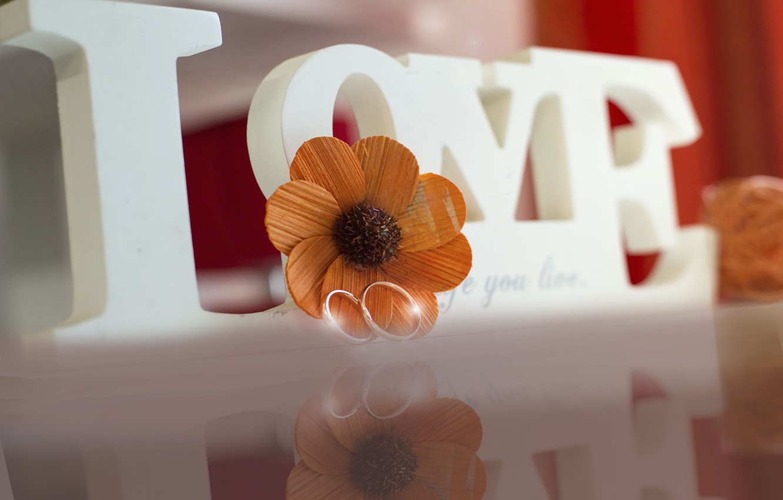 Photo wallpaper white, flower, macro, love, orange, reflection, background, gold, ring, beautiful, words, wedding, engagement