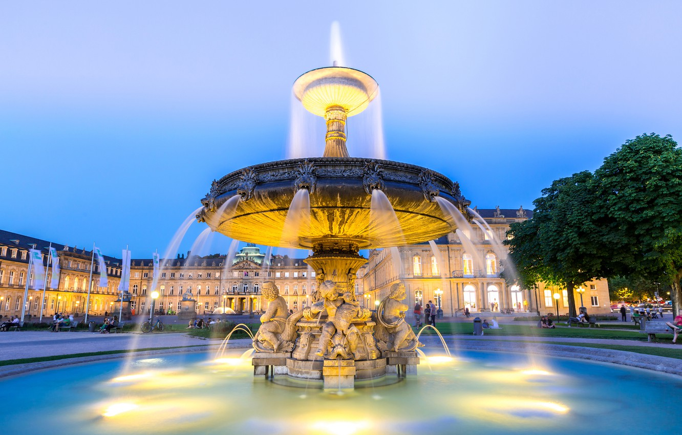 Photo wallpaper the sky, trees, lights, people, home, the evening, Germany, area, fountain, Stuttgart city center