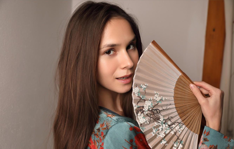 Photo wallpaper pose, Leona, looking at camera, lovely face, long brown hair, cute woman, beautiful brown eyes, …