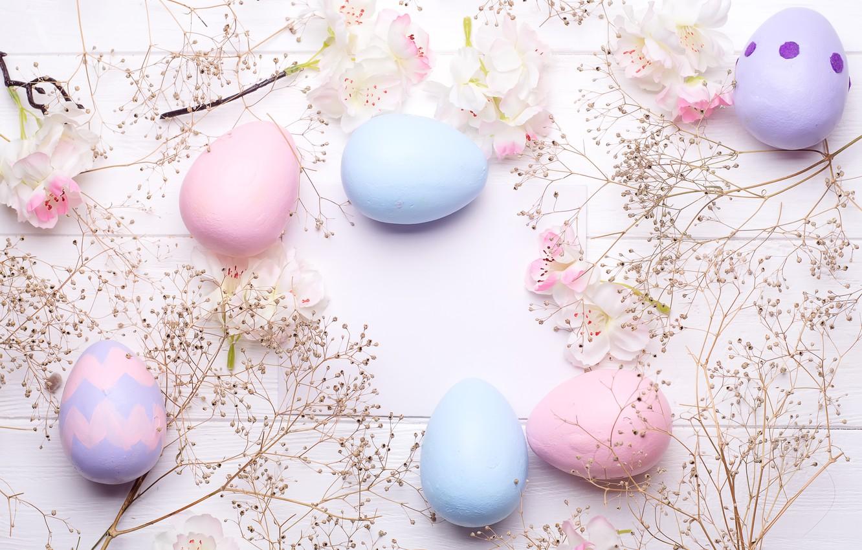 Photo wallpaper flowers, eggs, colorful, Easter, flowers, eggs, easter