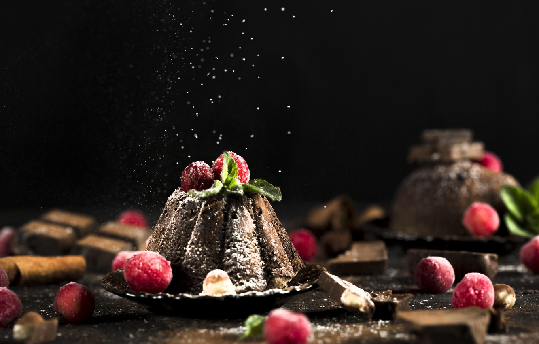 Photo wallpaper raspberry, cakes, chocolate, cupcake, powdered sugar