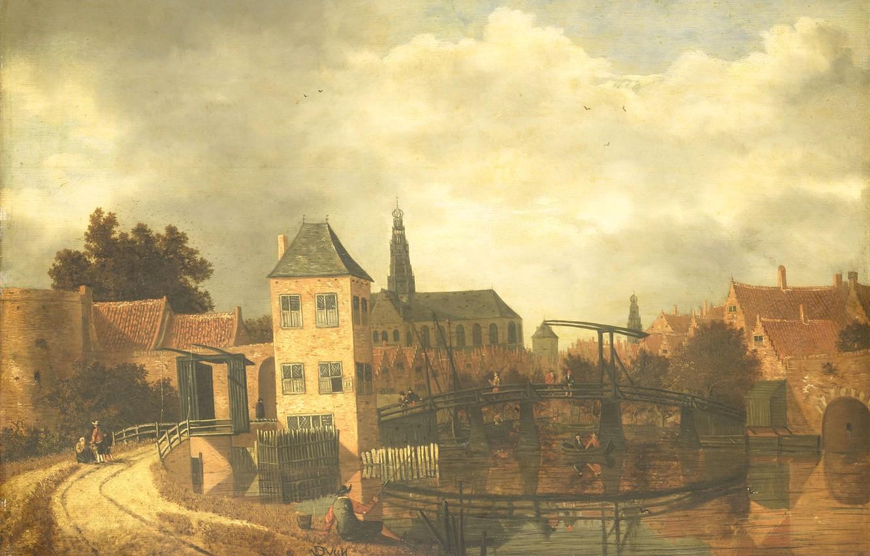 Photo wallpaper oil, picture, the urban landscape, 1659, Бальтазар ван дер Вейн, Balthasar van der Veen, Вид …