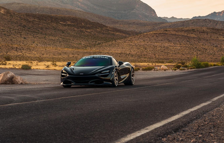 Photo wallpaper road, mountains, black, sports car, front view, McLaren 720S