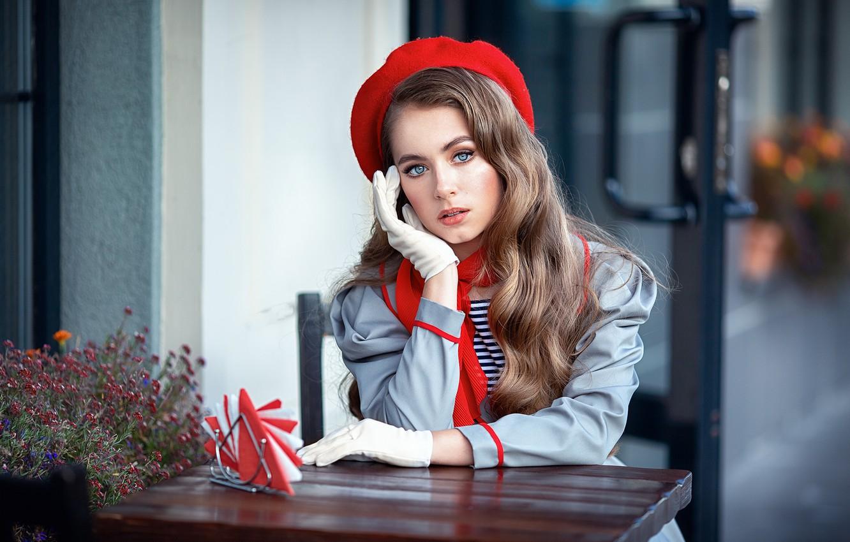 Photo wallpaper girl, makeup, gloves, brown hair, cloak, scarf, table, takes, curls, swipe, Anastasia Barmina, Anastasia Barmina