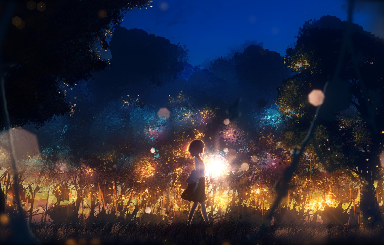 Photo wallpaper girl, the sun, trees, nature, twilight, by Y_Y