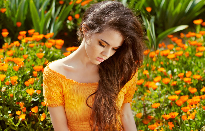 Photo wallpaper girl, flowers, cutie, bokeh
