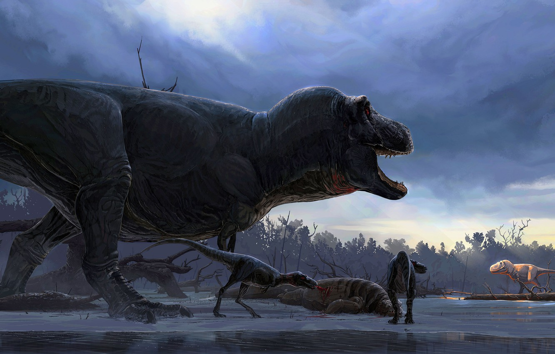 Photo wallpaper Predator, Animals, Art, T-Rex, Tyrannosaurus, Grin, Dinosaurs, Tyrannosaurus Rex, Hunting, Dinosaurs, Древние животные