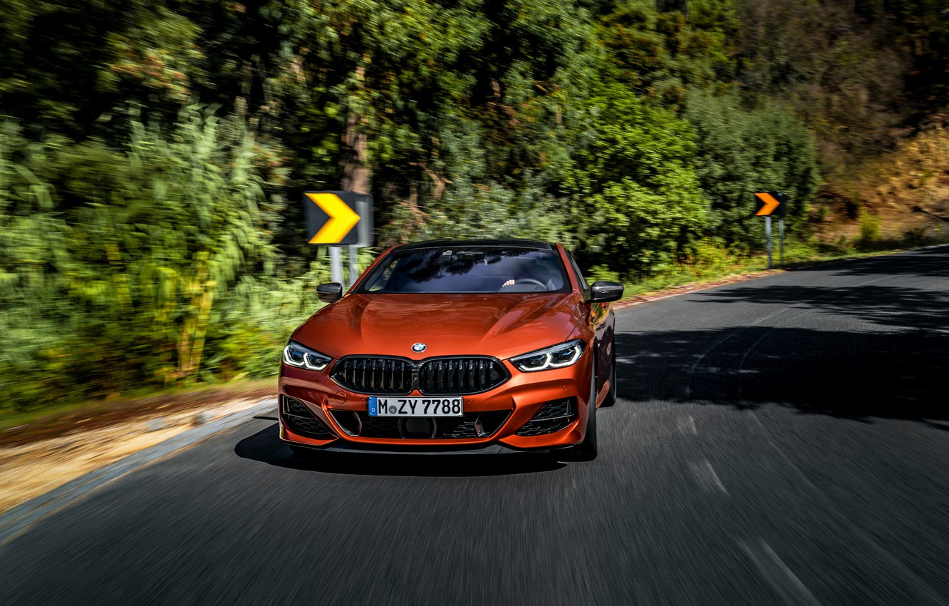 Photo wallpaper road, trees, coupe, turn, BMW, signs, Coupe, 2018, 8-Series, dark orange, M850i xDrive, Eight, G15