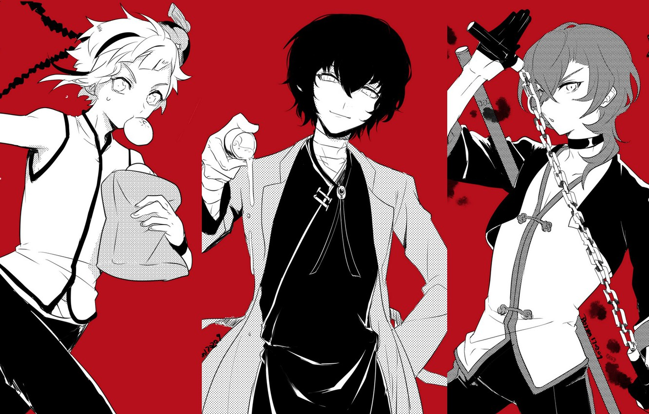 Wallpaper Collage Guys Red Background Bungou Stray Dogs Stray