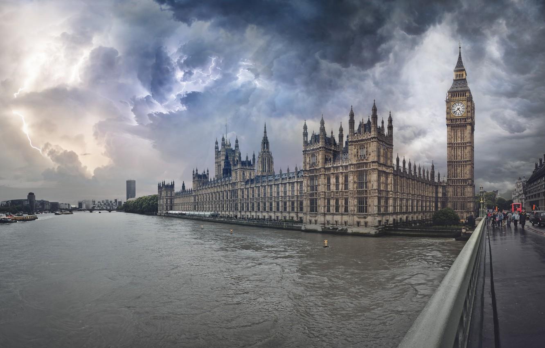 Photo wallpaper the storm, bridge, river, lightning, London, Big Ben, Westminster Abbey