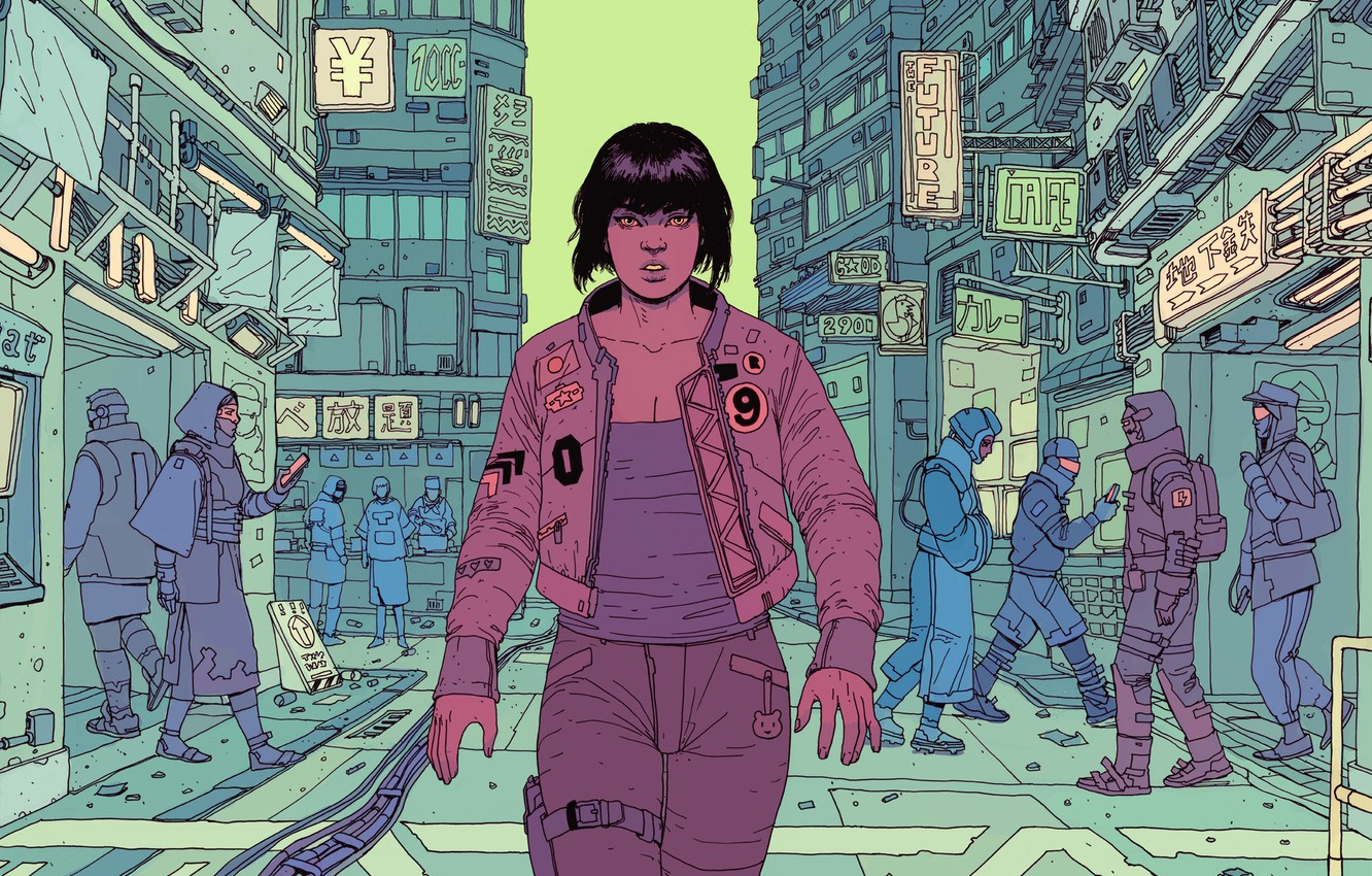 Wallpaper Girl Figure The City Girl Japan Fantasy Ghost Art Art Ghost In The Shell Robots Fiction Ghost In The Shell Future Cyborg Motoko Images For Desktop Section Art Download