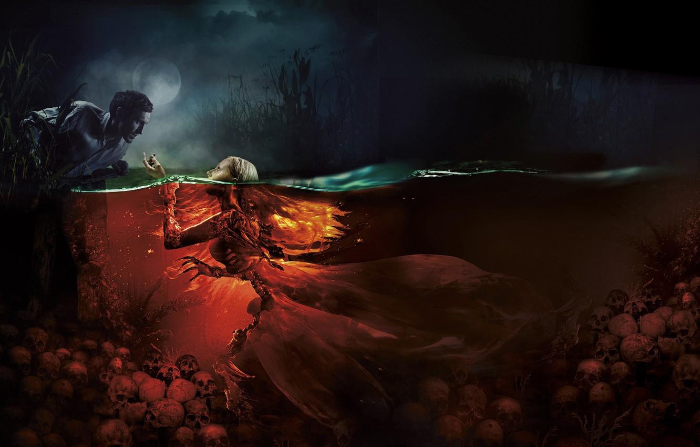 Photo wallpaper girl, night, lake, the moon, mermaid, mystic, fantasy, skull, male, poster, horror, Mermaid. Lake of …