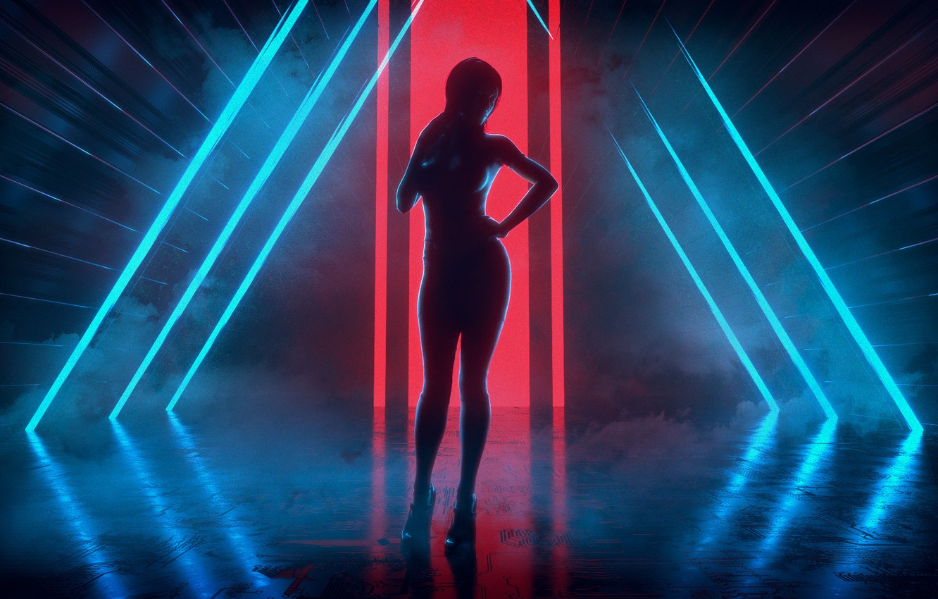 Photo wallpaper Girl, Music, Neon, Style, Background, Art, Style, Neon, Rendering, Illustration, 80's, Synth, Retrowave, Synthwave, New …