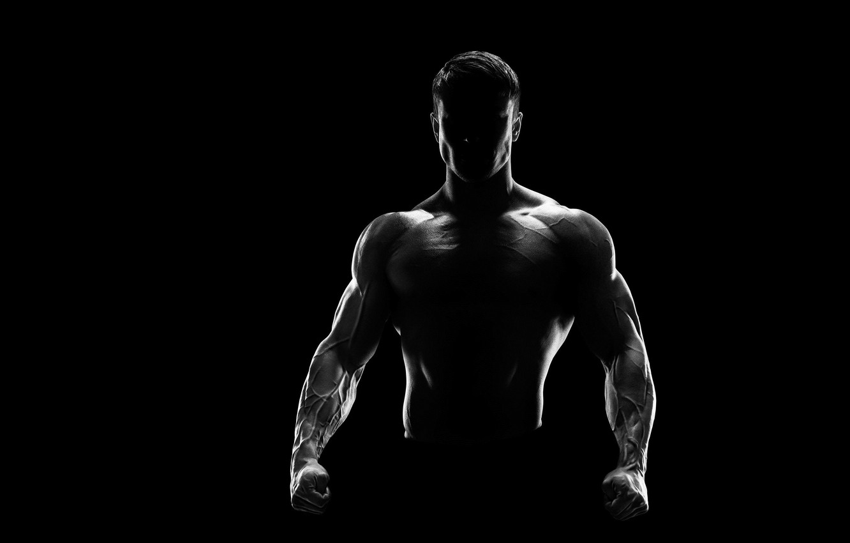 Photo wallpaper power, sport, black, silhouette, male