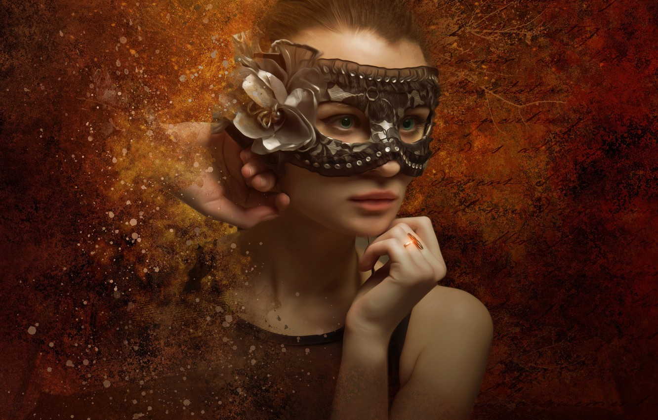 Photo wallpaper eyes, look, girl, face, style, background, portrait, treatment, hands, mask, art, young